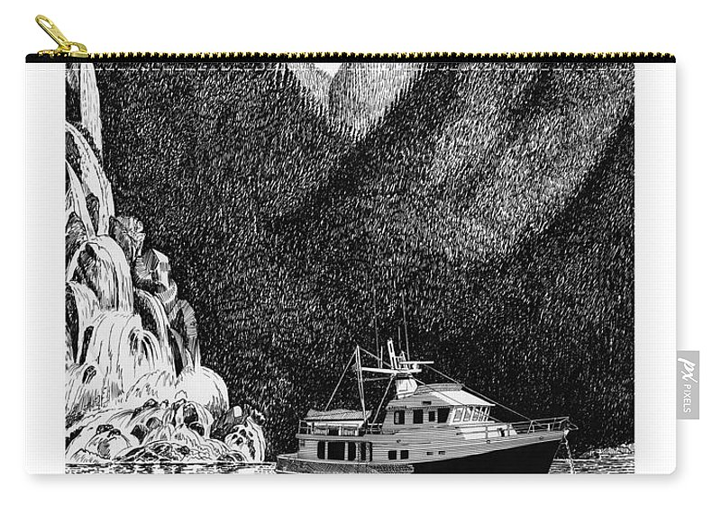 Safe Anchorage Carry-all Pouch featuring the drawing Anchored Safe Chatterbox Falls, British Columbia Inside Passage by Jack Pumphrey