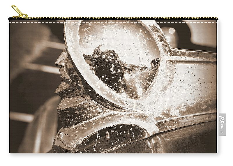 Desoto Carry-all Pouch featuring the photograph Desoto Deluxe Car Hood Ornament by Kathy Barney