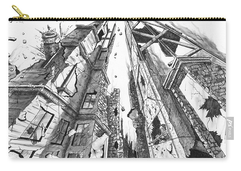 Destruction Carry-all Pouch featuring the drawing Destruction by Dana Alfonso
