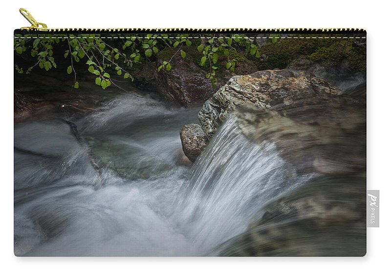 Art Carry-all Pouch featuring the photograph Detail Of A Small Water Fall In A Stream by Randall Nyhof