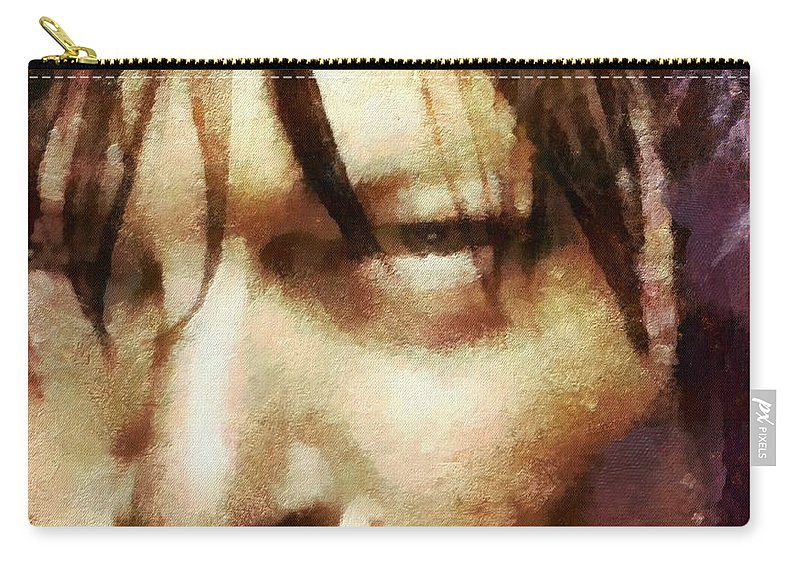 Daryl Dixon Carry-all Pouch featuring the painting Detail Of Daryl Dixon by Janice MacLellan