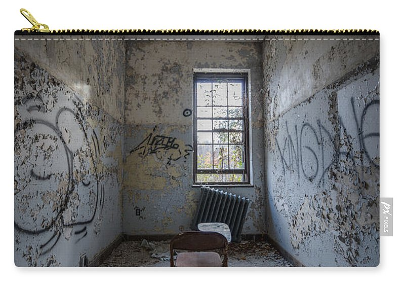 Urbex Carry-all Pouch featuring the photograph Detention Room by Michael Ver Sprill