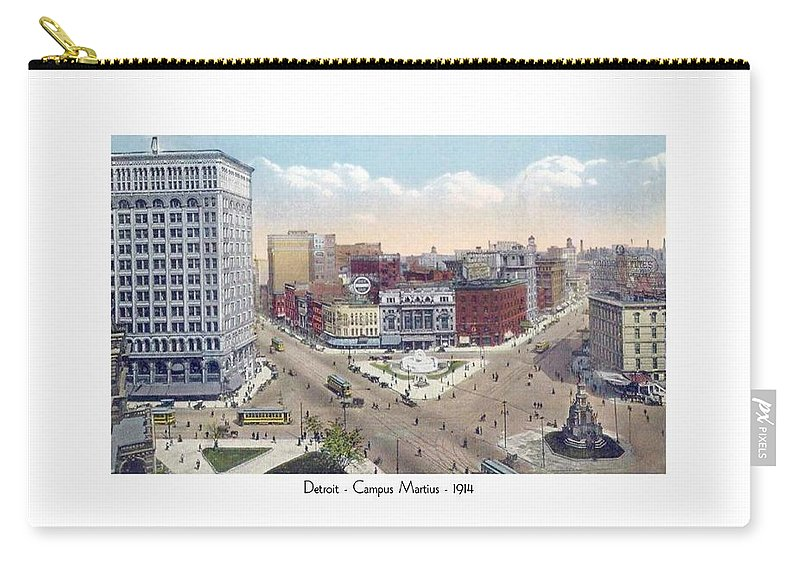 Detroit Carry-all Pouch featuring the digital art Detroit - Campus Martius - Soldiers And Sailors Monument - 1914 by John Madison