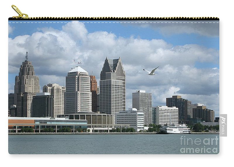 Detroit Carry-all Pouch featuring the photograph Detroit Riverfront by Ann Horn