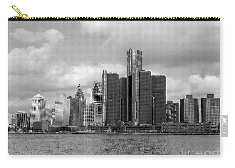 Detroit Carry-all Pouch featuring the photograph Detroit Skyscape by Ann Horn