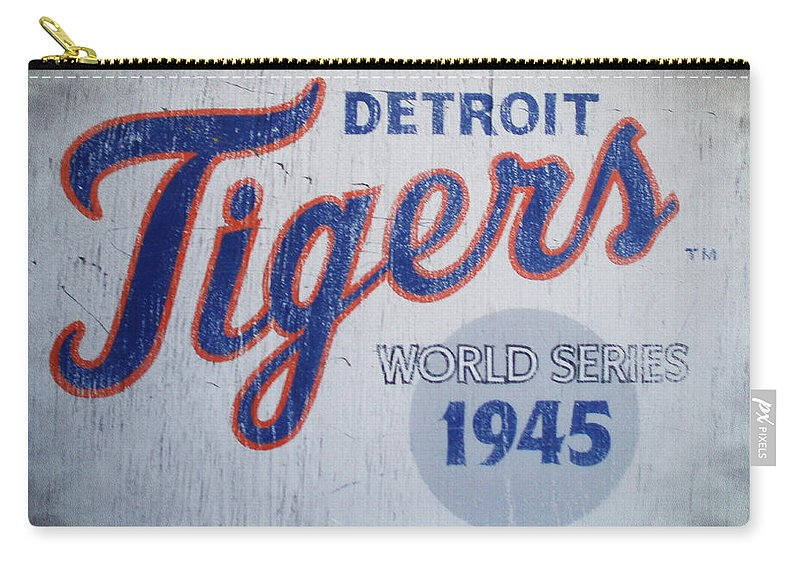Detroit Carry-all Pouch featuring the photograph Detroit Tigers Wold Series 1945 Sign by Bill Cannon