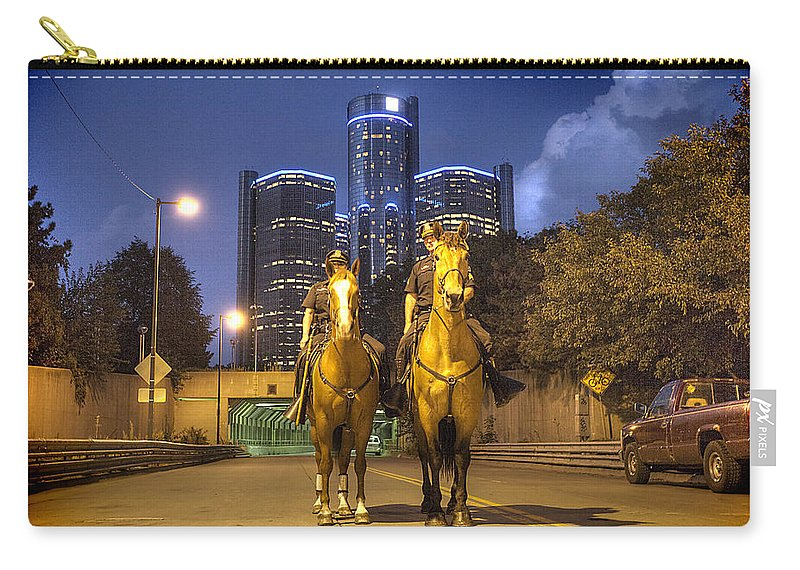 Detroit Police Department Carry-all Pouch featuring the photograph Detroit's Finest Detroit Mi by A And N Art