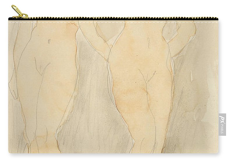 Rodin Carry-all Pouch featuring the drawing Deux Figures Debout by Auguste Rodin