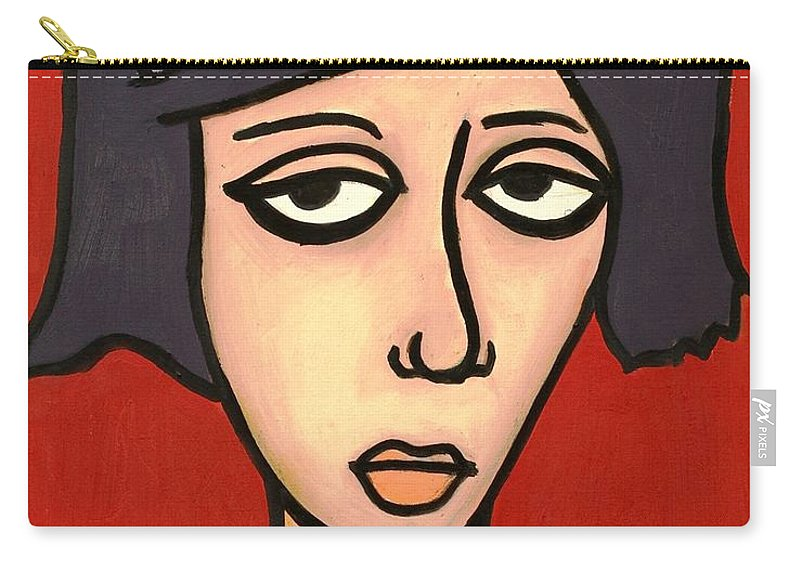Clay Carry-all Pouch featuring the painting Devil Girl by Thomas Valentine
