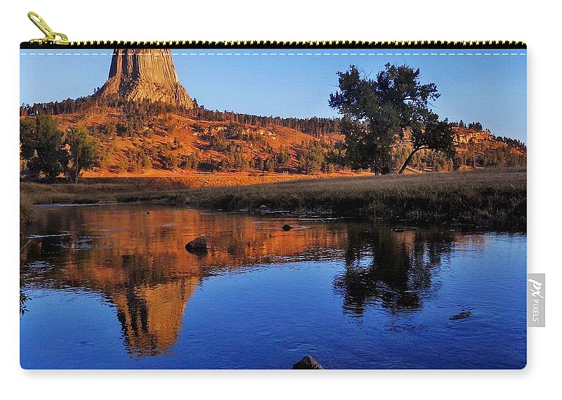 Devil Carry-all Pouch featuring the photograph Devils Tower Morning by Benjamin Yeager