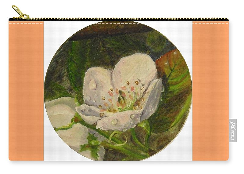 Pear Carry-all Pouch featuring the painting Dew Of Pear's Blooms by Nicole Angell