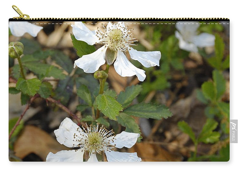Dewberry Carry-all Pouch featuring the photograph Dewberry Flower by Charles Beeler