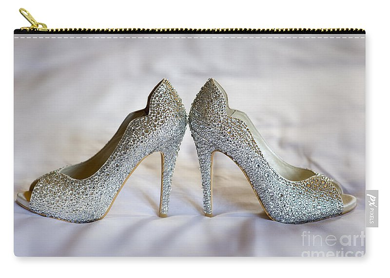Wedding Carry-all Pouch featuring the photograph Diamante Wedding Shoes by Lee Avison