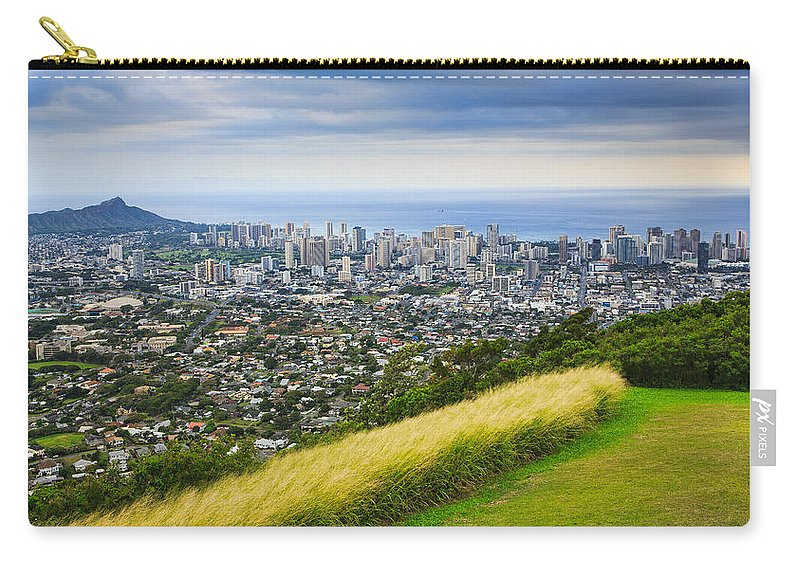 View Carry-all Pouch featuring the photograph Diamond Head And The City Of Honolulu by Ami Parikh