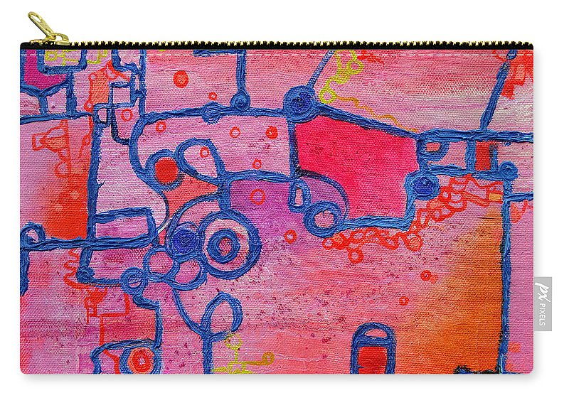 Duality Carry-all Pouch featuring the painting Dichotomy Original Abstract Oil Painting By Regina Valluzzi by Regina Valluzzi