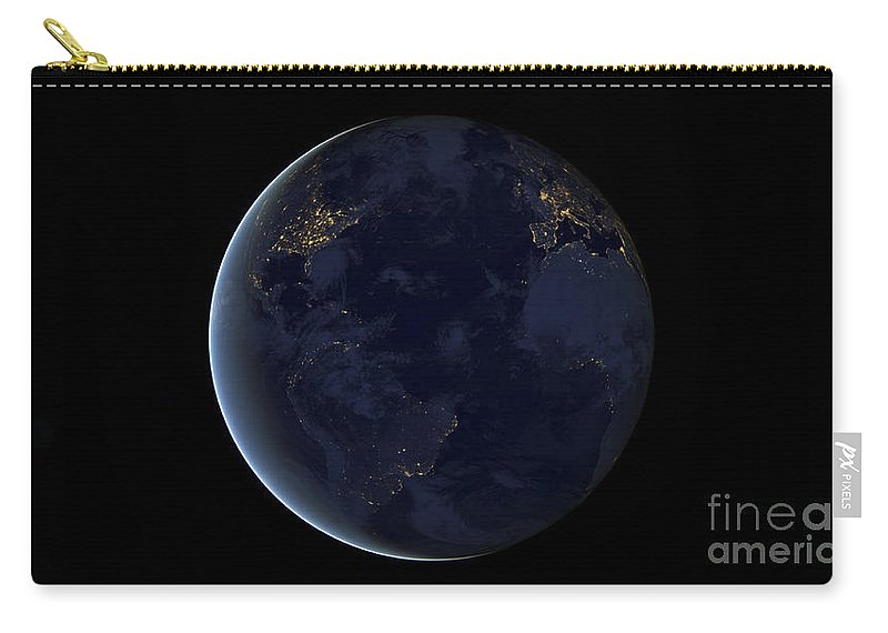 Horizontal Carry-all Pouch featuring the photograph Digital Composite Of Earths City Lights by Stocktrek Images