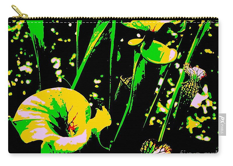 Digital Carry-all Pouch featuring the photograph Digital Green Yellow Abstract by Eric Schiabor