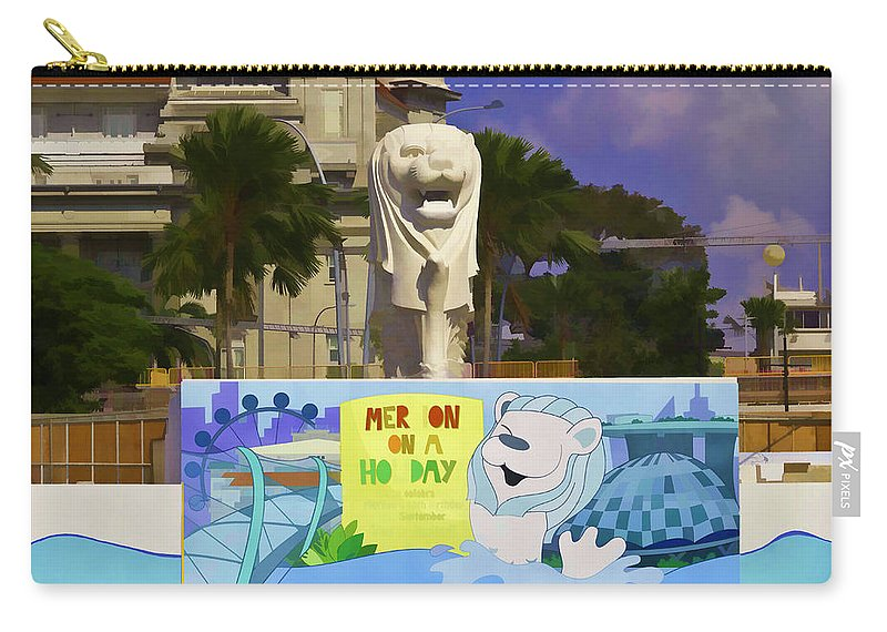 Action Carry-all Pouch featuring the digital art Digital Oil Painting - Statue Of The Merlion With A Banner by Ashish Agarwal