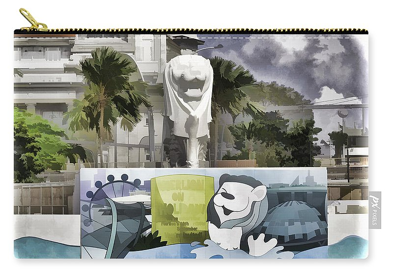 Action Carry-all Pouch featuring the digital art Digital Oil Painting - Statue Of The Merlion With A Banner Below The Statue And With Bu by Ashish Agarwal