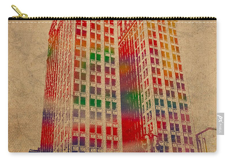 Dime Carry-all Pouch featuring the mixed media Dime Building Iconic Buildings Of Detroit Watercolor On Worn Canvas Series Number 1 by Design Turnpike