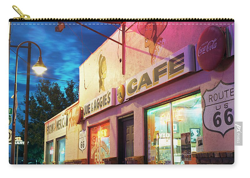 Shadow Carry-all Pouch featuring the photograph Diner Along Route 66 At Dusk by Gary Yeowell