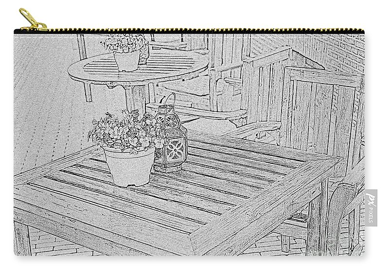 Table Carry-all Pouch featuring the photograph Dining On The Street by Elvis Vaughn
