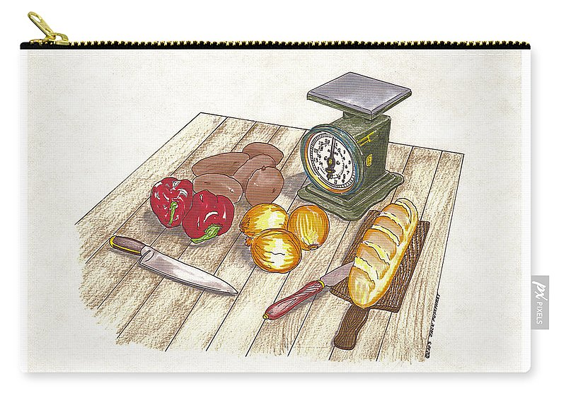 A Cook Book Illustration By Jack Pumphrey Of Vintage Kitchen Utensils And Food In A Watercolor By Jack Pumphrey Carry-all Pouch featuring the painting Weighing Dinner Preparation Supper by Jack Pumphrey