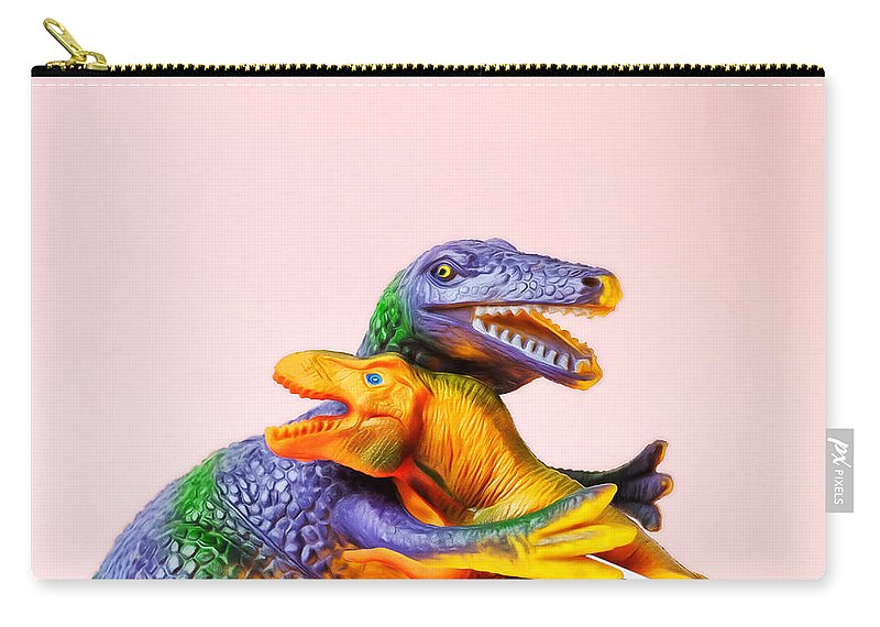 Fun Carry-all Pouch featuring the photograph Dinosaurs Hugging by Juj Winn
