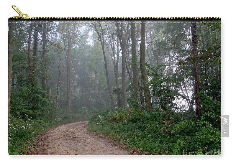 Path Carry-all Pouch featuring the photograph Dirt Path In Forest Woods With Mist by Olivier Le Queinec
