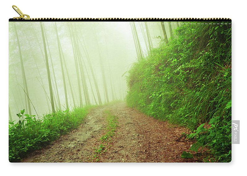 Extreme Terrain Carry-all Pouch featuring the photograph Dirt Road Leading Through Foggy Forest by Fzant