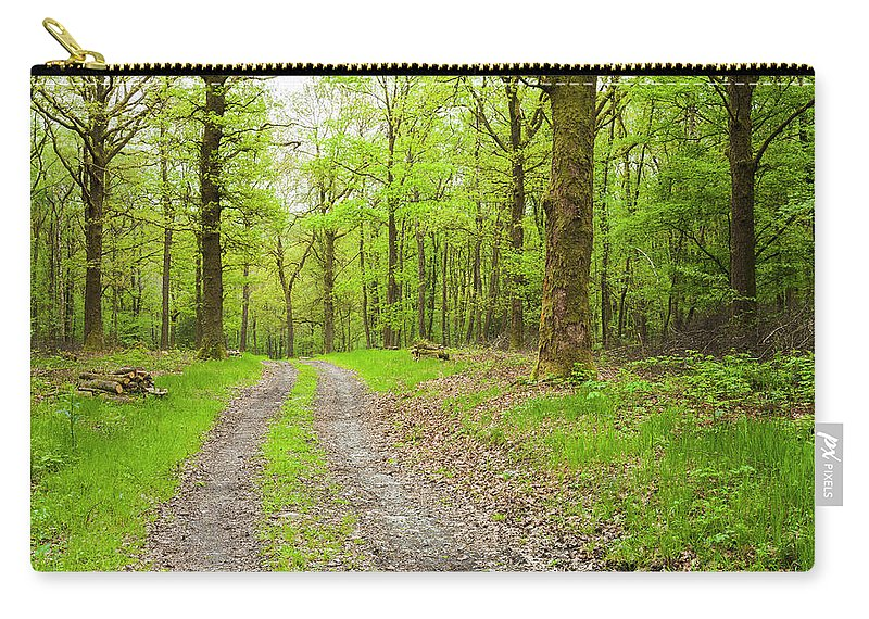 Scenics Carry-all Pouch featuring the photograph Dirt Road Surrounded By Trees In by Mike Kemp Images