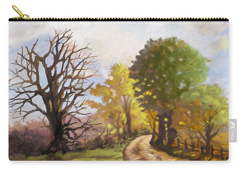 Landscape Carry-all Pouch featuring the painting Dirt Road To Some Place by Anthony Mwangi