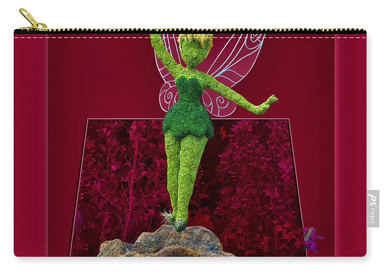 Tinker Bell Carry-all Pouch featuring the photograph Disney Floral Tinker Bell 01 by Thomas Woolworth