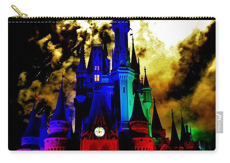 Walt Carry-all Pouch featuring the photograph Disney Night Fireworks by Benjamin Yeager