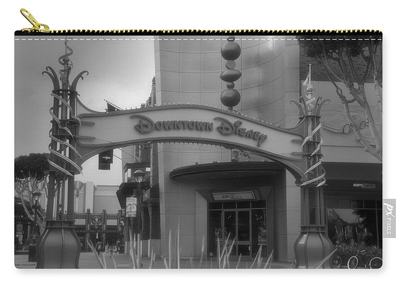 Disney Carry-all Pouch featuring the photograph Disneyland Downtown Disney Signage 03 Bw by Thomas Woolworth