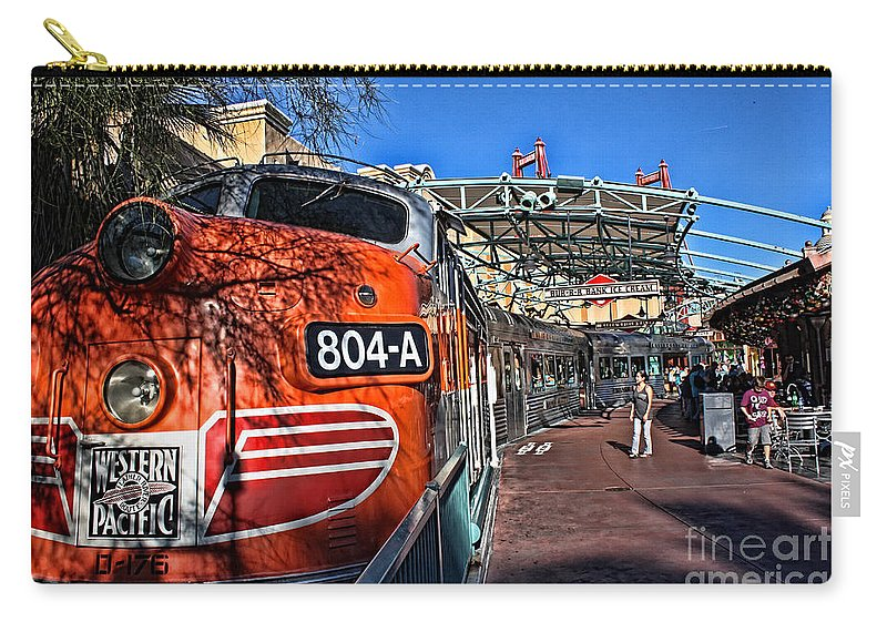 Locomotive Carry-all Pouch featuring the photograph Disneyland Western Pacific by Tommy Anderson