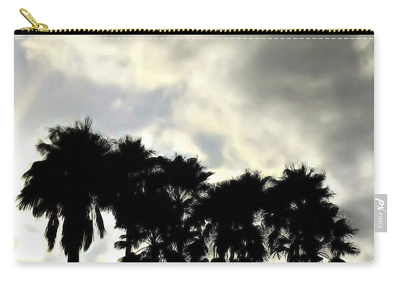 Palm Shadows Carry-all Pouch featuring the digital art Disney's Epcot Palm Trees by Joan Minchak