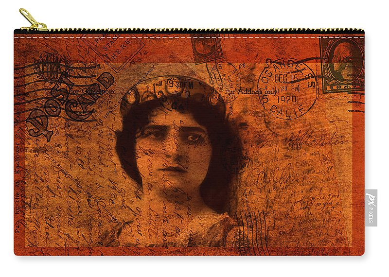 Vintage Carry-all Pouch featuring the photograph Distance - Vintage Art Collage by Lesa Fine