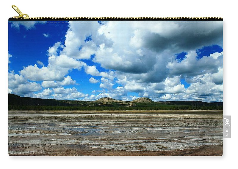 Yellowstone National Park Carry-all Pouch featuring the photograph Distant Hot Springs by Catie Canetti