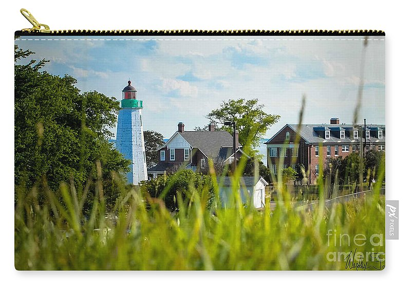 Light House Carry-all Pouch featuring the photograph Distant Light House by Wesley Farnsworth