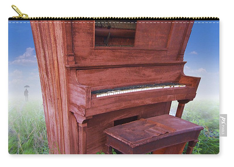 Distorted Upright Piano Carry-all Pouch featuring the photograph Distorted Upright Piano by Mike McGlothlen