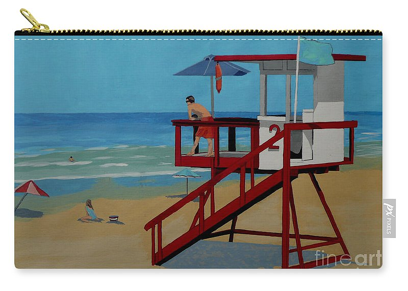 Lifeguard Carry-all Pouch featuring the painting Distracted Lifeguard by Anthony Dunphy
