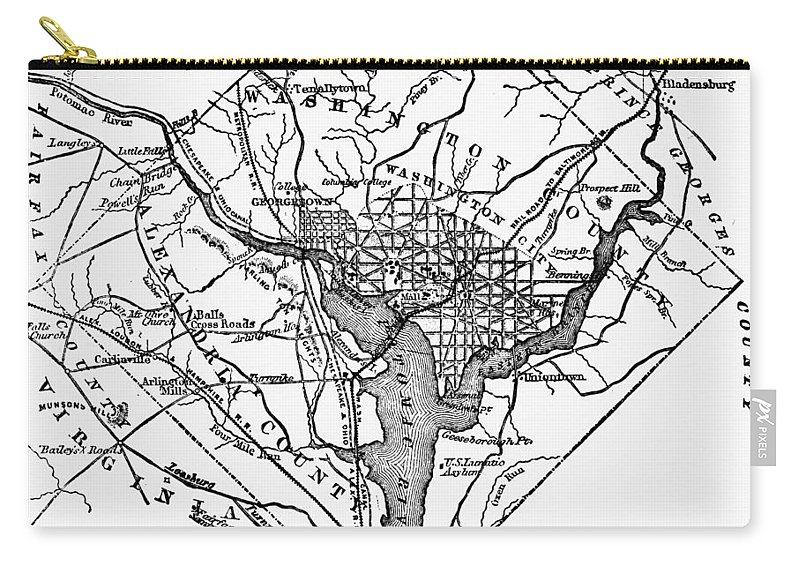 1801 Carry-all Pouch featuring the photograph District Of Columbia, 1801 by Granger