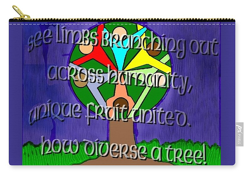 Diversity Carry-all Pouch featuring the painting Diversity Tree by Pharris Art