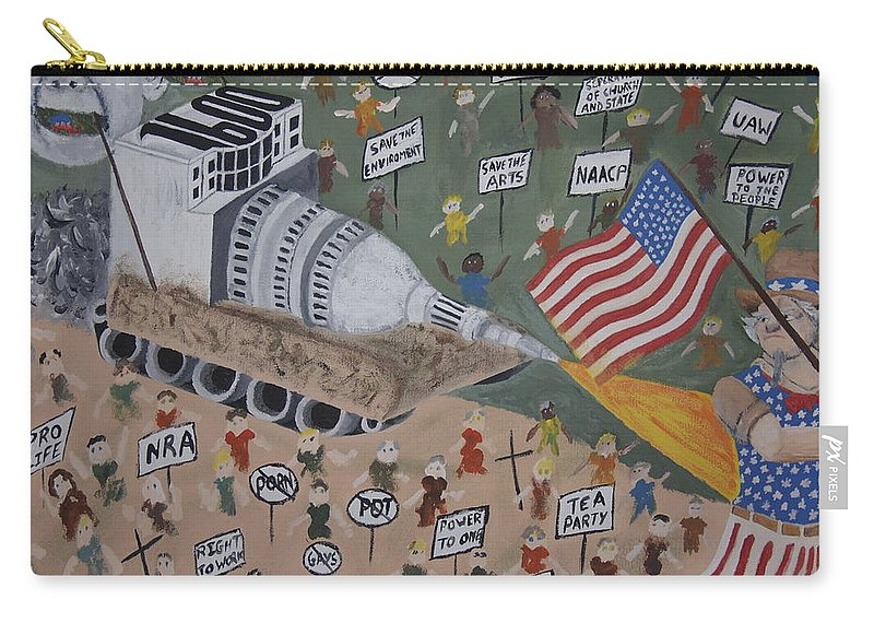 Political Satire Carry-all Pouch featuring the painting Divided We Stand by Dean Stephens
