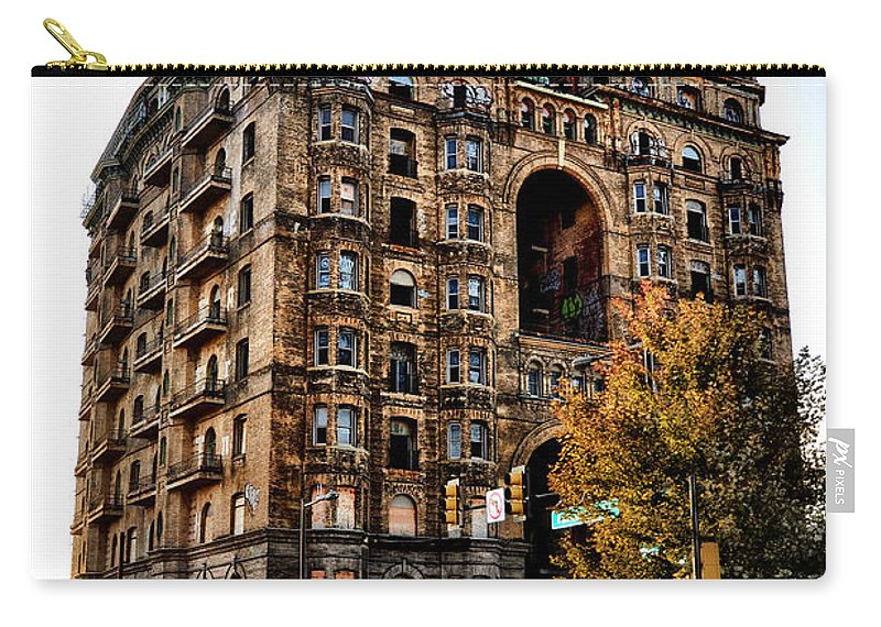 Divine Carry-all Pouch featuring the photograph Divine Lorraine Hotel In Philadelphia by Bill Cannon