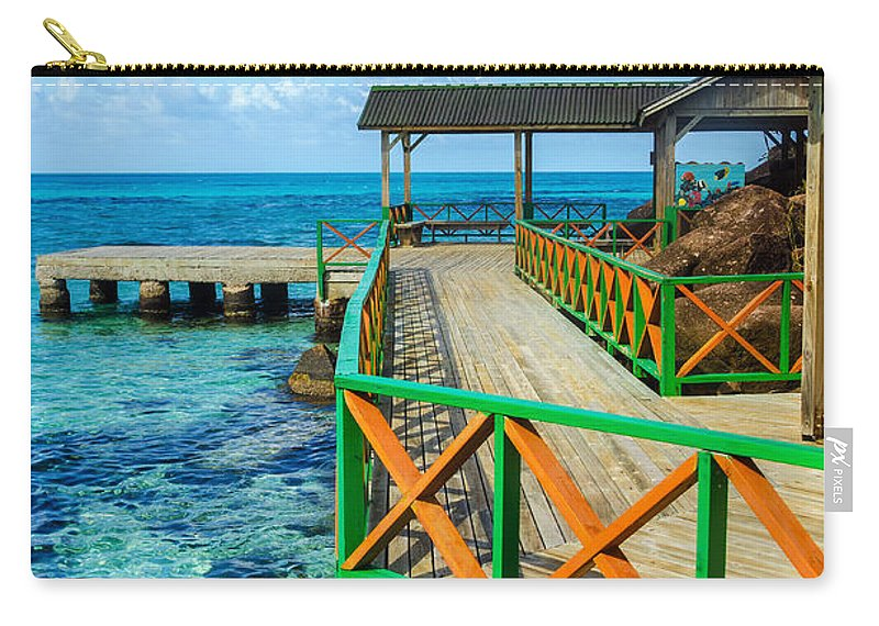 Bay Carry-all Pouch featuring the photograph Dock And Tropical Water by Jess Kraft