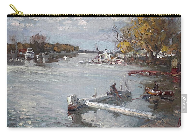 Dock Carry-all Pouch featuring the painting Dock At The Bay North Tonawanda by Ylli Haruni