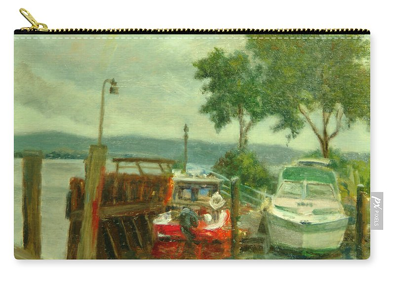 Landscape Carry-all Pouch featuring the painting Docked Boats by Phyllis Tarlow
