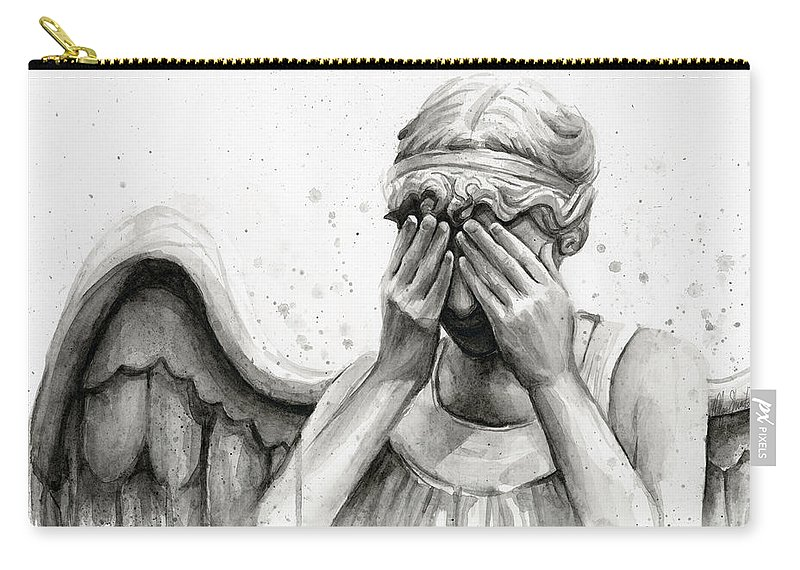 Who Carry-all Pouch featuring the painting Doctor Who Weeping Angel Don't Blink by Olga Shvartsur